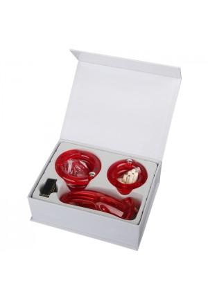 Мужской набор верности красного цвета с насадками (большой размер)