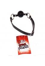 Силиконовый черный кляп-шарик на ремне BLACK BALLGAG