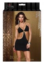 Платье с золотыми  цепочками TRIMMED HALTER DRESS BLACK L 882507-BLACK-L