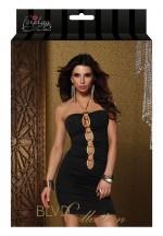 Платье с золотой  цепочкой на груди TRIMMED HALTER MINI DRESS BLACK L 882671-BLACK-L