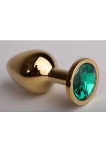 Анальная пробка золотая с зеленым кристаллом 9,5х4см 47098-2-MM