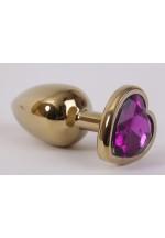 Анальная пробка золото 7,5х2,8см с сердечком фиолетовый страз 47192-MM