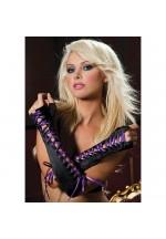 Атласные перчатки-пинетки с фиолетовой шнуровкой