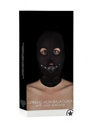 Маска с кляпом Extreme Mesh Balaclavea with Open Ball Gag SH-OU174BLK