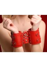 Наручники кожаные красные 3055-2