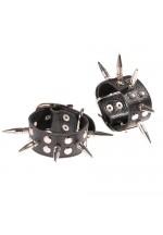Наручники кожаные черные с шипами и заклепками 3056-1