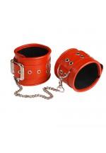 Оковы кожаные красные с широким ремешком, соединенные цепочкой длиной 35см 3072-2