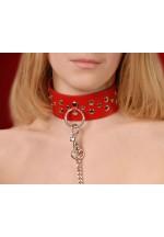 Ошейник кожаный красный шириной 45мм с цепочкой-поводком с карабином длиной 50см 3100-2