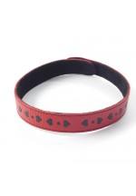 Ошейник кожаный красный шириной 20мм с аппликацией в виде сердечек 3108-2