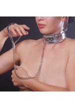 Ошейник серебристый с меховой подкладкой, 5014-6
